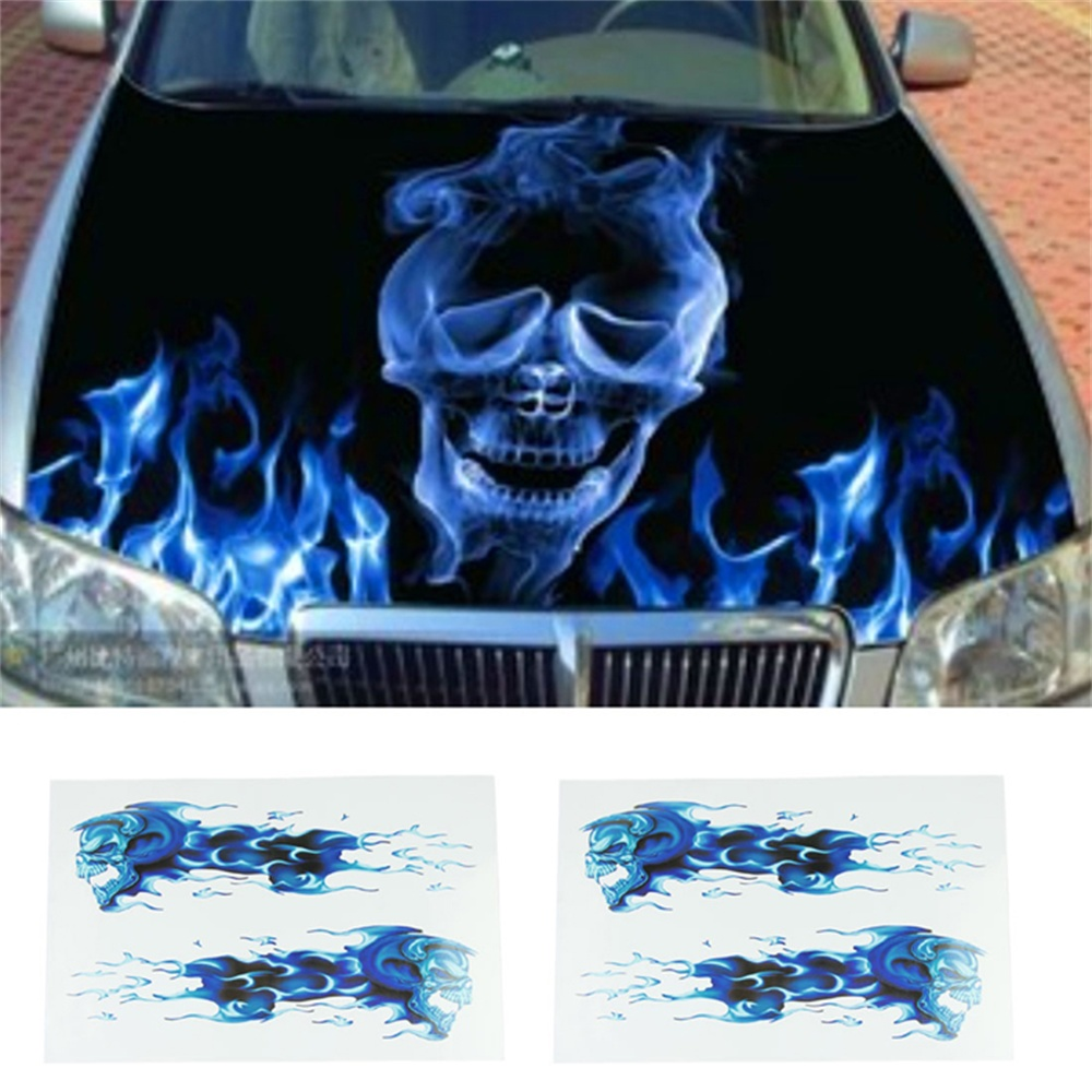 2018 Fashion blue flames double skull image DIY stickers  Suitable for a variety of models  car sticker  best price  Vicky
