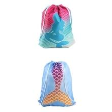 Women Mermaid Printing Drawstring Bag Beam Port Storage Shopping Travel Backpack