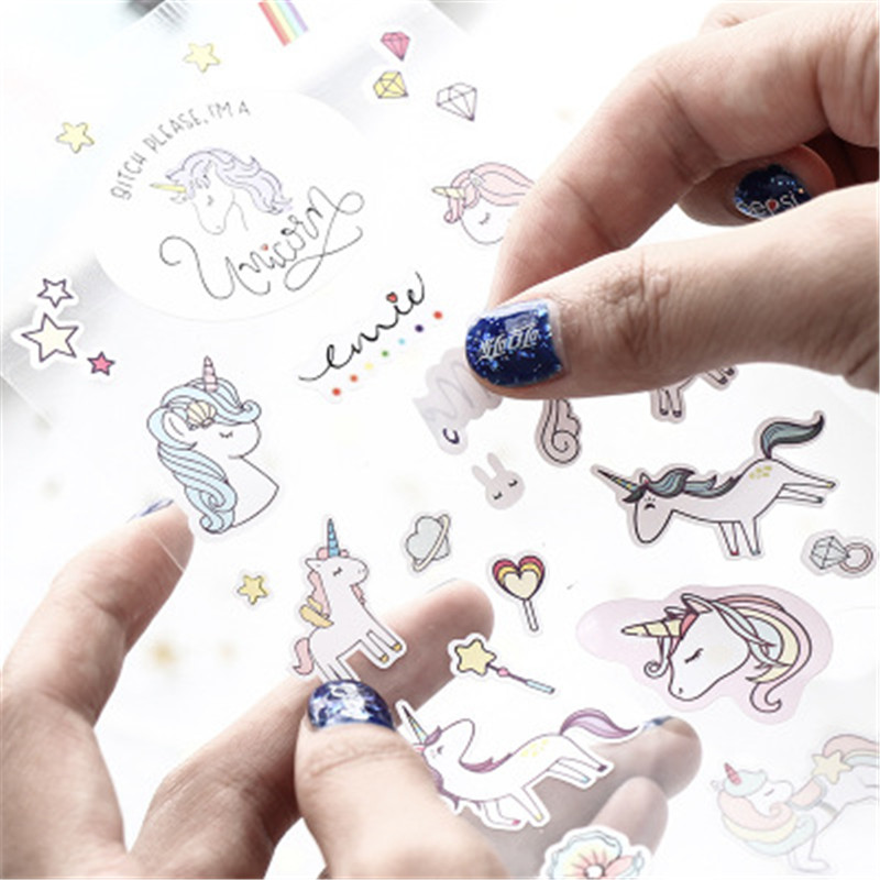 3Pcs Creative Cute Unicorn Transparent Sticker For DIY Diary Book Mobile Phone Laptop Cup Book Kids Anime Stickers Children Toys london sticker book