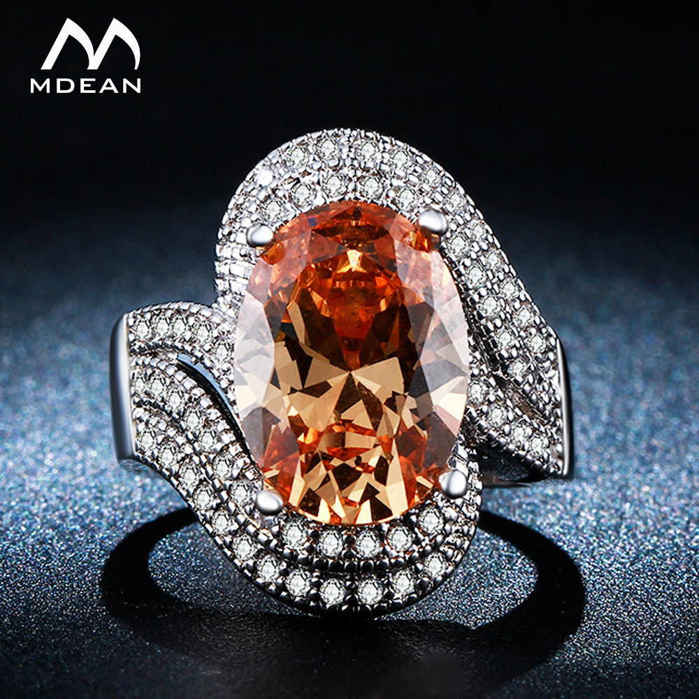 MDEAN White Gold Color Rings for Women Jewelry Gem Inlaid AAA Zircon Jewelry Wedding Wom ...
