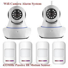 Wireless WiFi IR Cut IP Alarm Camera HD 1MP CMOS Security CCTV IP Camera Alarm System with Door/Window Passive IR Motion Sensor