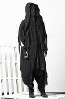 Темно плащ пальто плащ для выражения личности ночной клуб пальто мужской прилив Готический поддельные две части выше колена халаты Мужчины