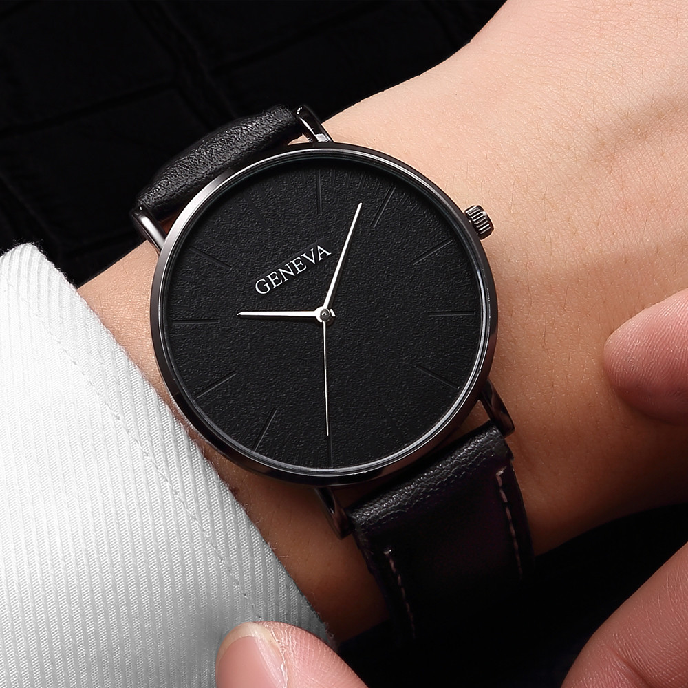 Fashion Men's Leather Casual Analog Quartz Wrist Watch Business Watches Analog Horloges Simple Assista Polshorloge Manner B40