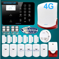 HOMSECUR Wireless&wired 4G/3G/GSM LCD Home House Alarm System for Residential and Business Security