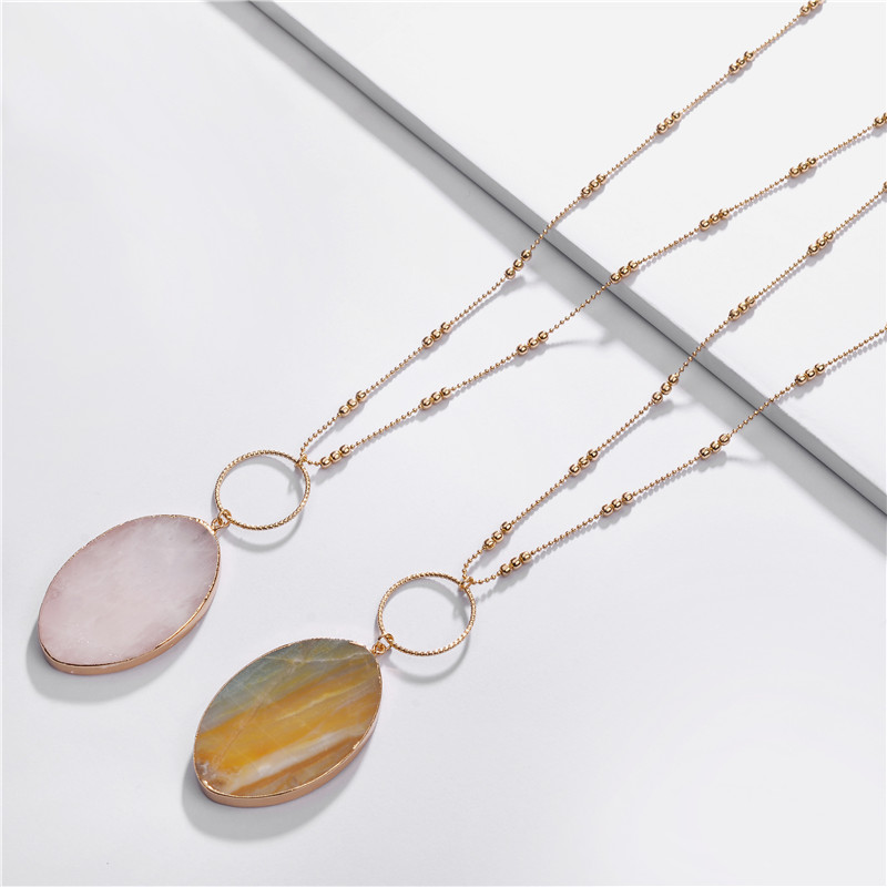 LUNA CHIAO Fashion Long Cooper Chain Semi-Precious Big Size Marquise Shape Stone Pendants&Necklaces for Women