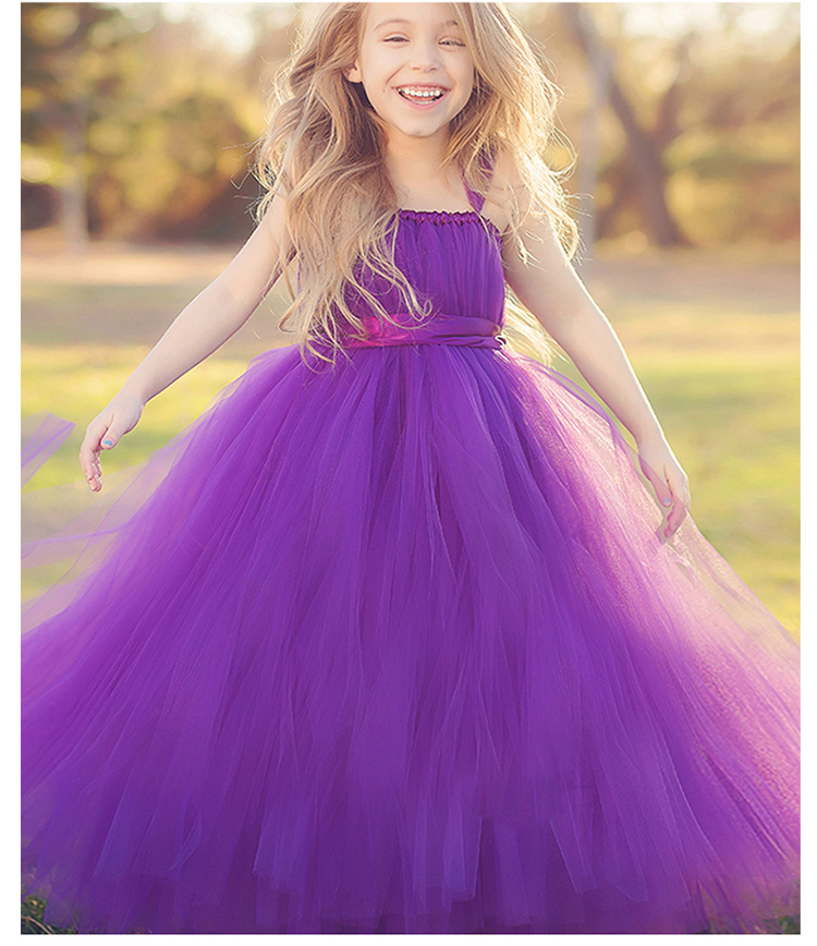Girls maxi dress wedding bow voile princess party clothes for 10 year old dresses for weddings