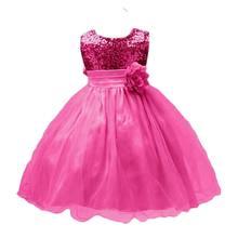 Купить с кэшбэком BOTEZAI Girls Dress Wedding Lace Party Princess Sequin Appliques Flower Dresses For Girls Teenage Summer Children Clothes Kids