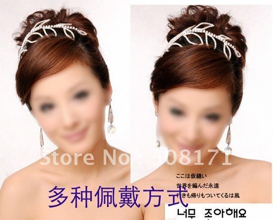2011  Crystal Hair Hoop Hairband Bridal Rhinestone Headband For Prom Wedding Pageant Rodeo Birthday wedding Royal crown H03