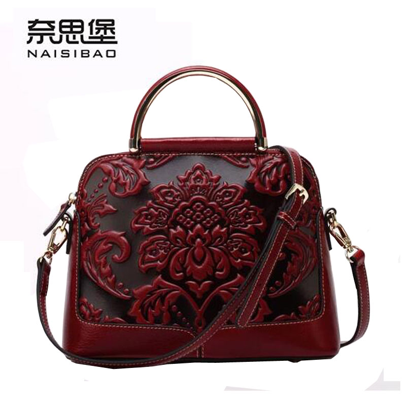 2016 New women genuine leather bag famous brands retro embossing quality luxury women leather handbags shoulder bag 2017 new women bag genuine leather brands quality fashion embossing cowhide bag luxury women leather handbags shoulder bag