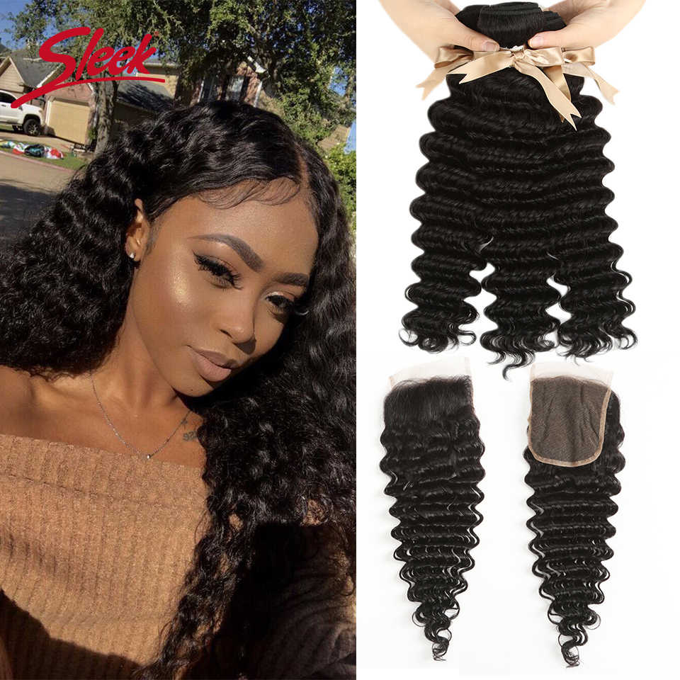 Sleek Remy Hair Malasian Deep Wave Human Hair Bundles With Closure  3 4 bundles With Closure Remy Human Hair Extension