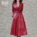 Корейский стиль черный красный PU кожаные пальто ветровка Длинное пальто регулируемый талия декор abrigos mujer casaco feminino LT870