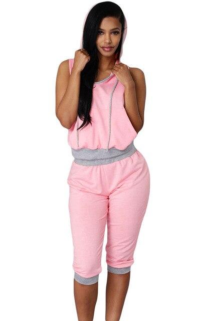 2 Unidades Ropa Trajes de Verano de Las Mujeres Tops casuales hasta la rodilla Pantalones de Chándal gris rosa Sexy Rogue Sweat Pant Set Sml 62004