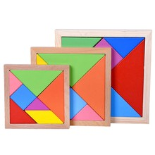 Tangram Puzzle Wooden Jigsaw Colorful Geometry Shape Cognition Wood Puzzles For Kids Baby Educational Toys For Children Puzzles(China)
