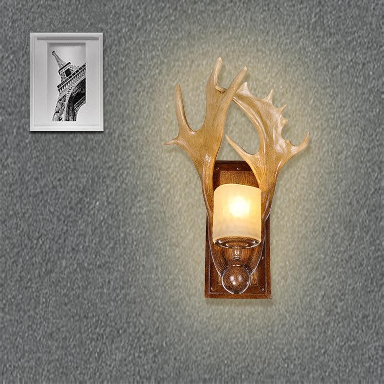 TUDA 32X50cm Retro Wall Lamp American Country Antler Wall Lamp Aisle Bedroom Bedside Nordic Wall Lamp newly nordic wall lamp free shipping w43cm 2l american country style nordic fabric shades vintage aisle bird design wall lamp
