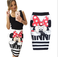 Womens Lovely Cartoon Mickey Printed Skirts 2016 Hot Sale High-waist Back Zipper Design Slim Hip Skirts Women Bottoms