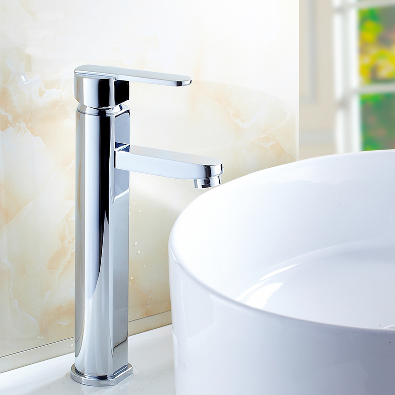 Silver single hole bathroom sink basin faucet chrome plated, Copper wash basin faucet mixer tap hot and cold Whosale Or Retail 2015 new arrival kitchen faucet tap fashion copper antique and porcelain counter basin hot cold faucet vintage wash single hole