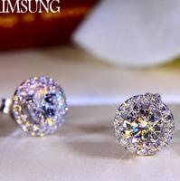 2CT Solid 925 Stelring Silver Wedding Engagement Stud Earrings Sona Dia mond Band Jewelry Women Brithday Party Gift G color