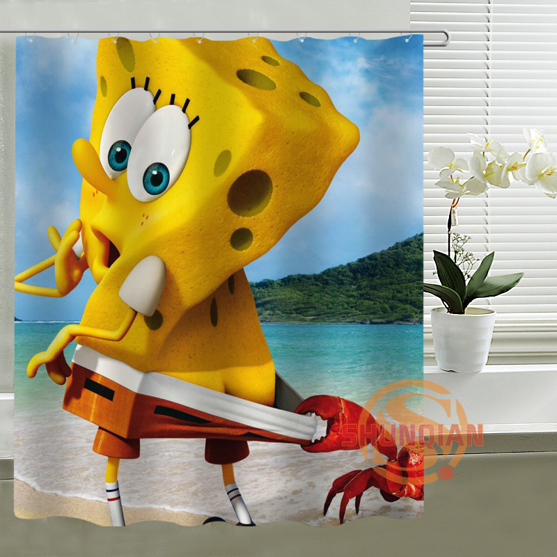 Captivating The SpongeBob SquarePants Shower Curtain Custom Waterproof Bathroom  Curtains Hot Sale Bath Decor(China (