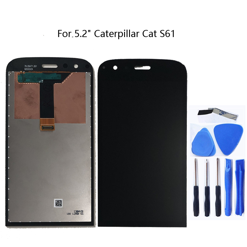 """For Caterpillar Cat S61 5.2"""" Original Display Touch Screen Panel Digitizer for CAT S61 LCD Display + Free Tools-in Mobile Phone LCD Screens from Cellphones & Telecommunications"""