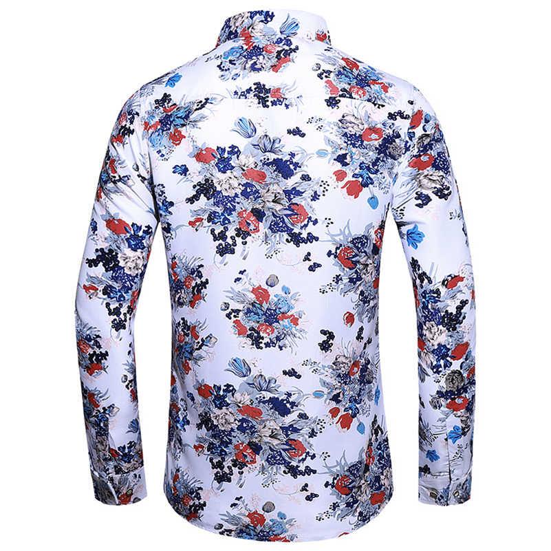 Visada Jauna 2019 Kasual Kemeja Fashion Kapas Floral Top Slim Fit Merek Desain Liar Bisnis Pria Anak Laki-laki Besar ukuran 7XL N5119
