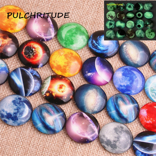 PULCHRITUDE 15pcs Round 20mm 25mm Mixed Round Resin Flat Cameo Setting Luminous Glass Planet Pattern Fit Diy Jewelry Makingc2022