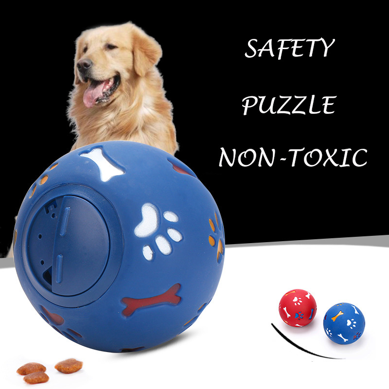 JORMEL Paw Print Bone Leakage Food Ball Pet Dog Toys Natural Non-Toxic Ball Toy Chew Toy For Small Medium Large Puppy Dogs