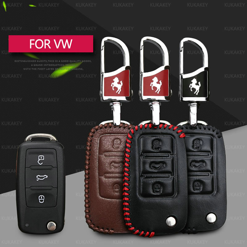 KUKAKEY Car Key Case For Volkswagen Genuine Leather Key Cover For VW Polo Golf Passat Touareg Tiguan Beetle Bora Jetta Key Bag