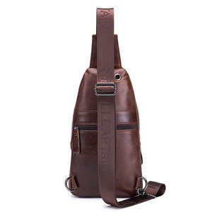 Image 4 - BULL CAPTAIN Quality Men Leather Crossbody Bags Cowhide Casual Riding Sling Shoulder Messenger Bag Chest Day Back Pack