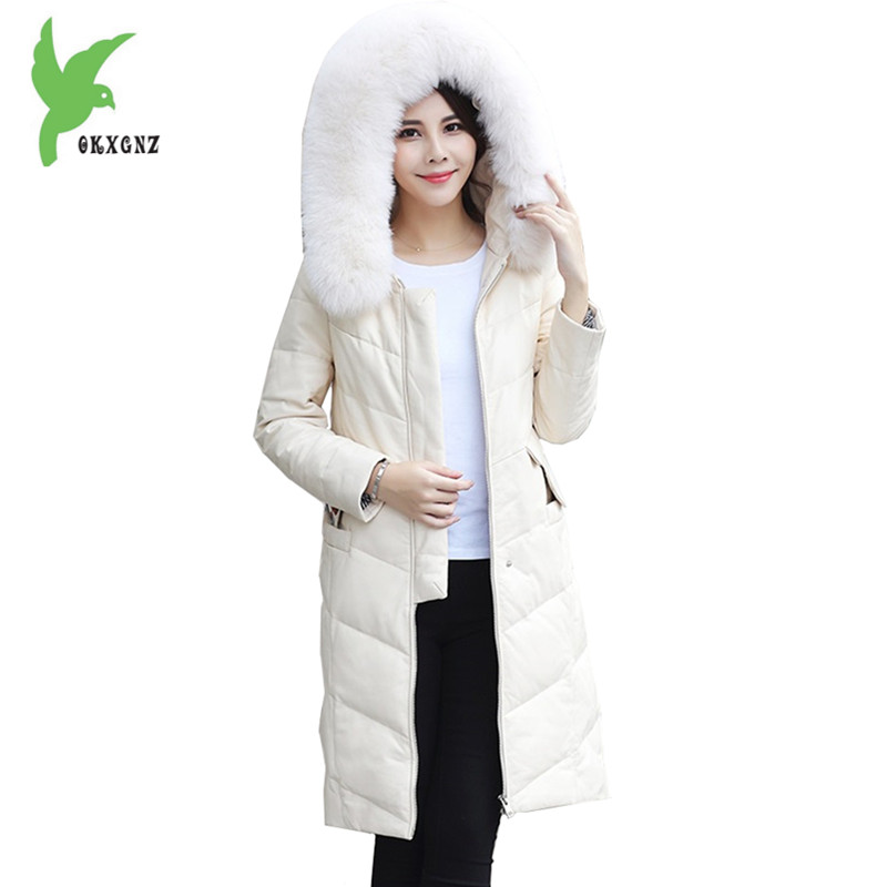 New Women Winter Leather Jackets Down Cotton Long Coats Boutique Eyes Embroidery Hooded Parkas Plus size Warm Jackets OKXGNZ1089