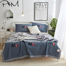 цена на 2019 Preppy Dark Grey Stripes Quilt Cotton air-condition Quilted Thin Comforter Summer Throws Blanket Twin Full Queen Size
