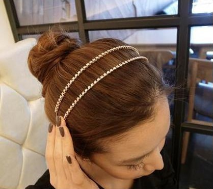The new fashion super shiny crystal fine hair hoop, Ms double hair band. 4pieces/lot! Free shipping