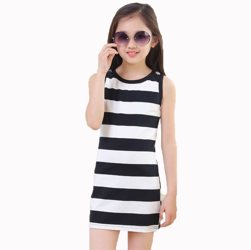 For 4 5 6 10 11 12 13 14 Years Girls Stripe sleeveless white and black Cotton Brand Summer Girl Dress toddler girls Tutu Dresses