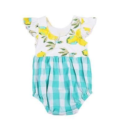 169ccee51f9 Cute Toddler Baby Kids Girls Puffy Floral Lemon Romper Plaid Jumpsuit  Playsuit Sunsuit Clothes