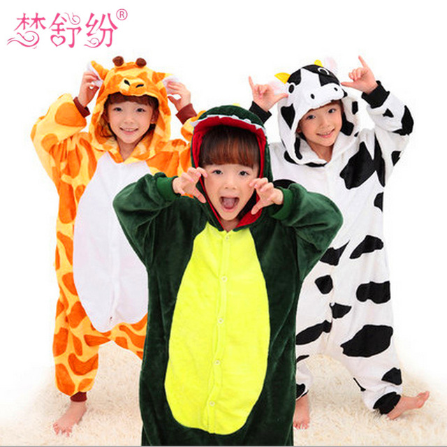 Winter Baby Boys Girls Unicorn Panda Pajamas set Flannel Stitch Animal Pajamas Kids Pajama sets Onesies Children Clothes