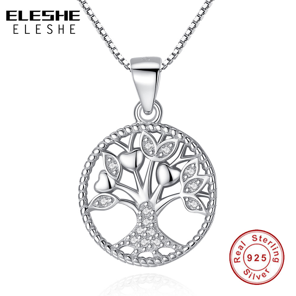 цена на ELESHE Aliexpress Hot Sale 100% Real 925 Sterling Silver Family Tree of Life Pendant Necklaces For Women Fashion Jewelry Gift