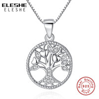 ELESHE Aliexpress Hot Sale 100 Real 925 Sterling Silver Family Tree Of Life Pendant Necklaces For