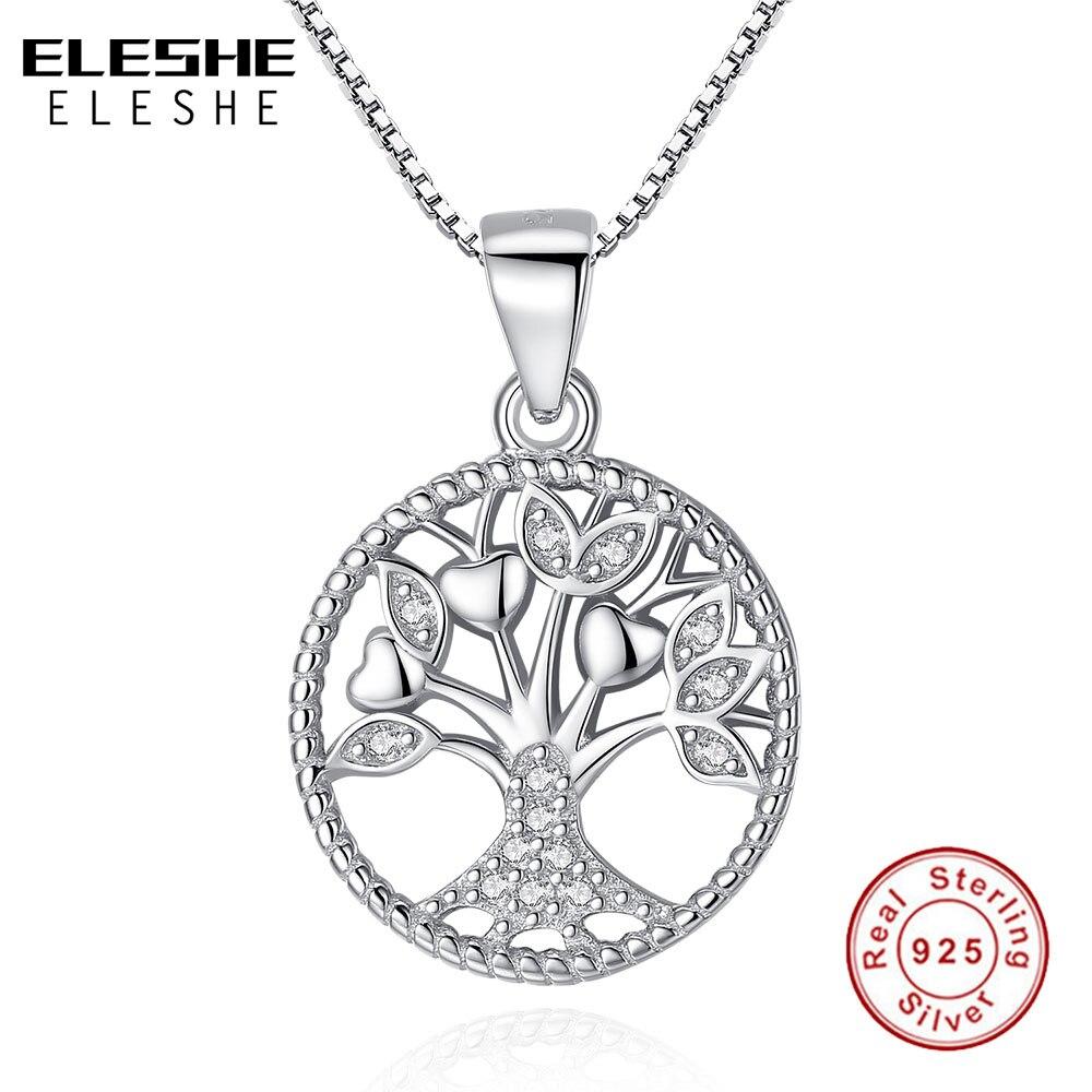 ELESHE Aliexpress Vente Chaude 100% Réel 925 Sterling Argent Famille Arbre de Vie Pendentif Colliers Pour Femmes Mode Bijoux Cadeau