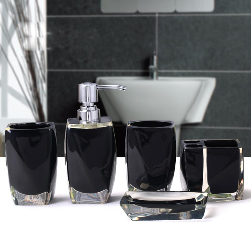 Image gallery modern bathroom accessories sets for Black bathroom ensembles