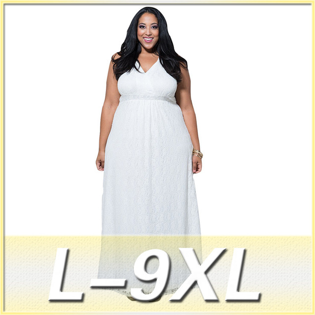 New arrival Bigger size women s dress L-9XL plus size female fashion lace  dresses Full figure long vestidos Tank sleeve V neck 42e62fd4e62e
