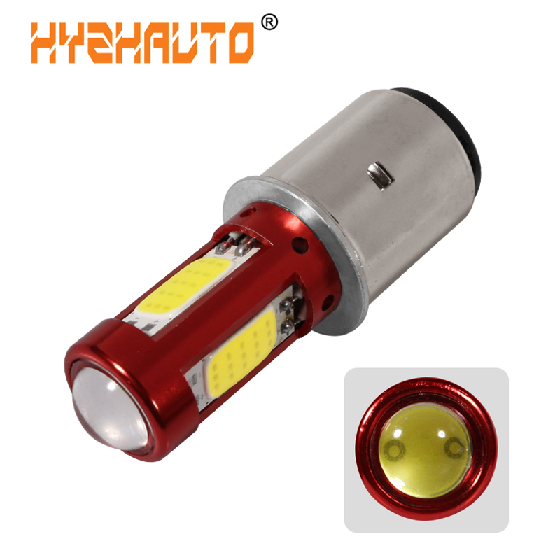 HYZHAUTO 1Pcs H6 BA20D LED Motorcycle Headlight Bulb Hi-Lo Beam LED Moto Motorbike Scooter ATV HeadLight Fog Lamp White 12-80V
