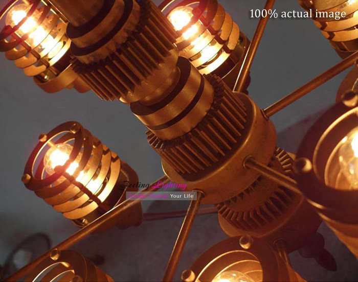 Free Shipping Modern Industrial Style Futuristic Gear Metal Edison Bulbs Mechanical Aesthetics Pendant Light Suspension Lamp 12 In Lights From