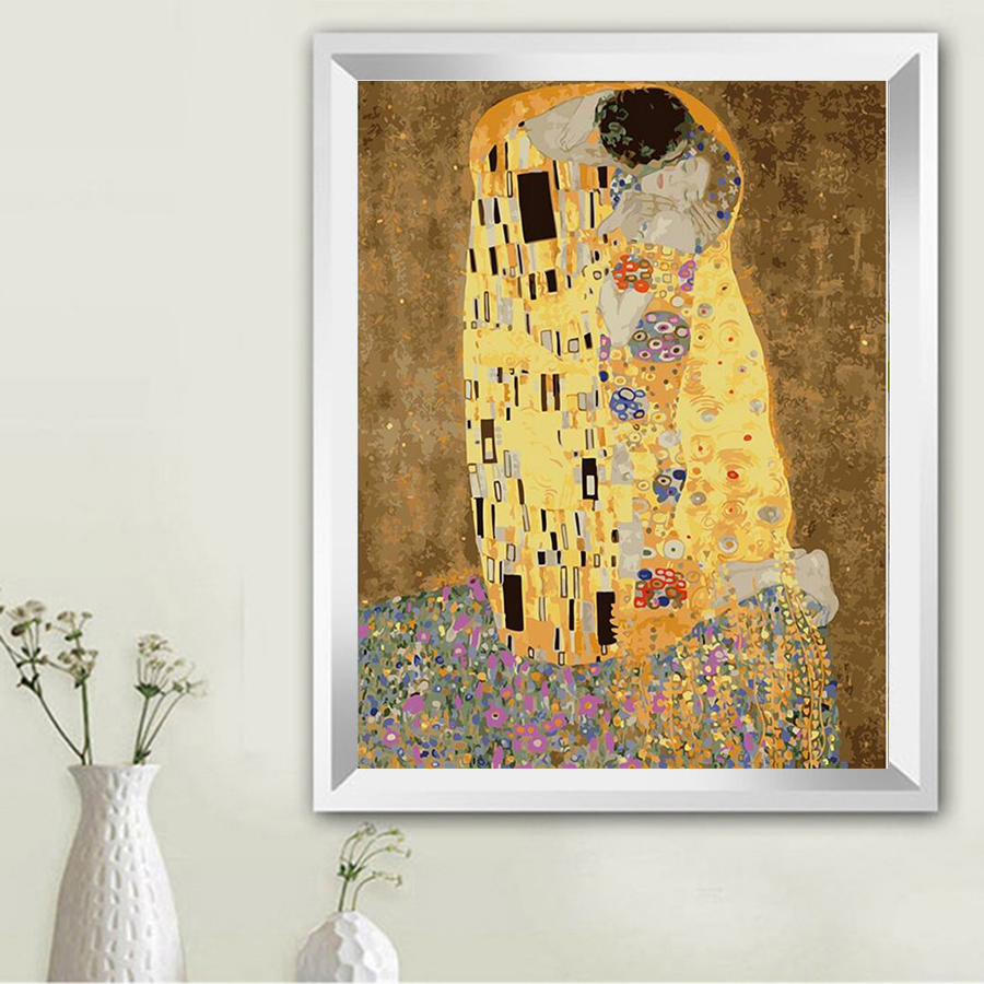 Klimt & Kiss - Abstract oil painting wall art cuadros decoracion picture painting by numbers on canvas Modular pictures TF06