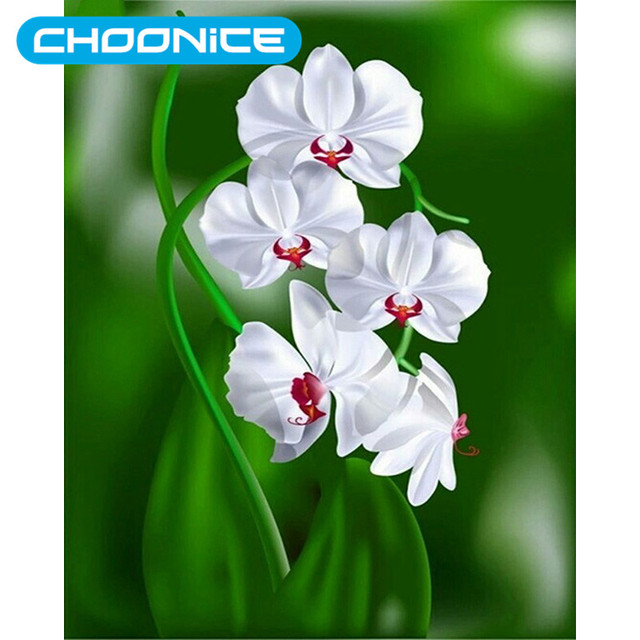 Diamond orchid white flowers vase diamond embroidery full flower diamond orchid white flowers vase diamond embroidery full flower painting designs paintings on the wall picture mightylinksfo Images