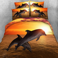 3D dolphins bedding sets adult animal golden duvet cover bed in a bag bedspread twin queen king size bedlinen 3/4PCs woven 500tc
