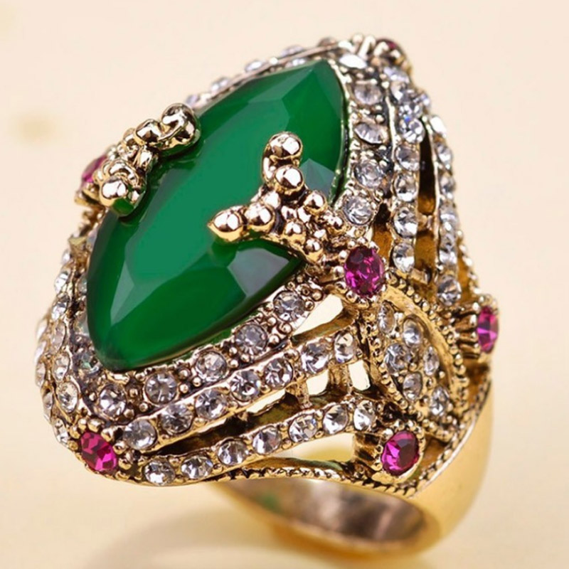 Blucome Brand Green Resin Turkish Rings Anniversary Jewelry Antique Gold Vintage Aneis Ouro Anel Men Rings Love Man Finger Ring