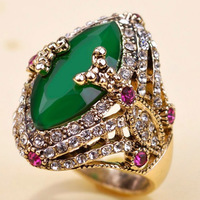Emerald Green Resin Turkish Rings Collar Anniversary Jewelry Fine Antique Gold Vintage Aneis Ouro Anel Men