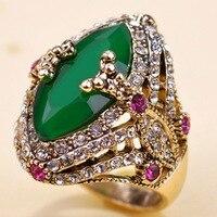 Blucome Thương Hiệu Nhựa Màu Xanh Lá Cây Thổ Nhĩ Kỳ Nhẫn Kỷ Niệm Jewelry Antique Vàng Cổ Điển Aneis Ouro Anel Đàn Ông Nhẫn Tình Yêu Người Đàn Ông Finger Nhẫn