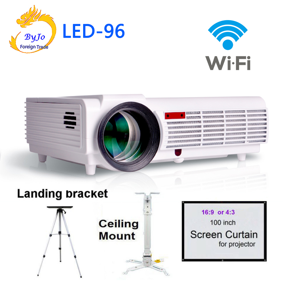 Poner Saund LED96 wifi led projector 3D android With curtain or stand BT96 proyector HDMI Video Multi screen Home theater system poner saund dlp100w pocket hd portable dlp projector micro wireless multi screen mini led battery hdmi usb portable home cinema