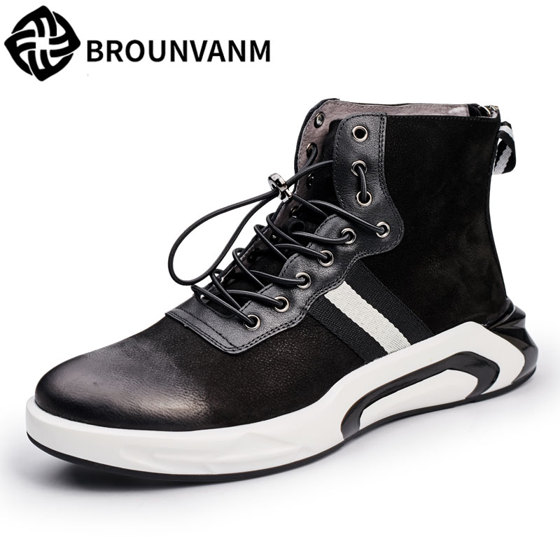 new winter men's Vintage high shoes trend Korea thick boots male new autumn winter British retro men boots cowhide cashmere afs jeep cashmere inner men s thick 100