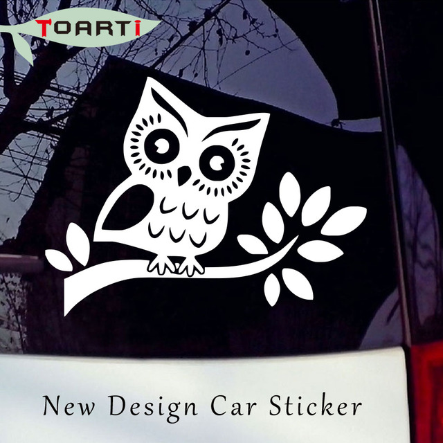 Cute owl white vinyl sticker decal car truck tailstock accessories suv wall hoot wise waterproof pvc